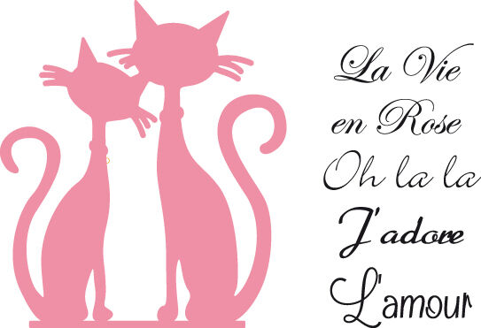 Marianne Collectables cutting die & clear stamps - FRENCH CATS - COL1344