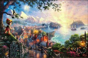 Thomas-Kinkade-Pinocchio-Wishes-Upon-a-Star-EPIC-28x42-I-P-Disney-Canvas