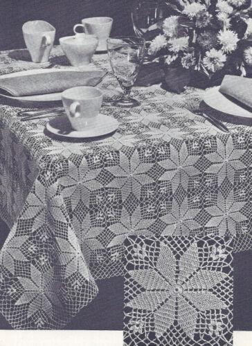 Vintage Crochet PATTERN MOTIF Tablecloth Shining Star