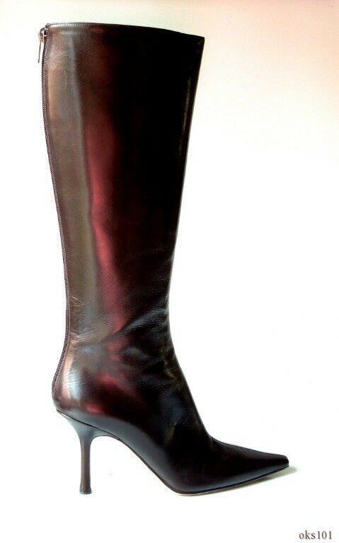 New JIMMY CHOO dark brown pelle knee-high BOOTS 39.5 9.5 - gorgeous CLASSY