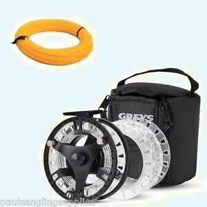 New-Greys-GTS-500-Fly-Fishing-Reel-3-Spools-amp-Case-With-Fly-Floating-Line
