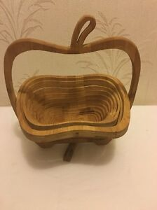 Details About Apple Spiral Open Layer Fold Out Collapsible Wooden Bowl Trivet Accordion Basket