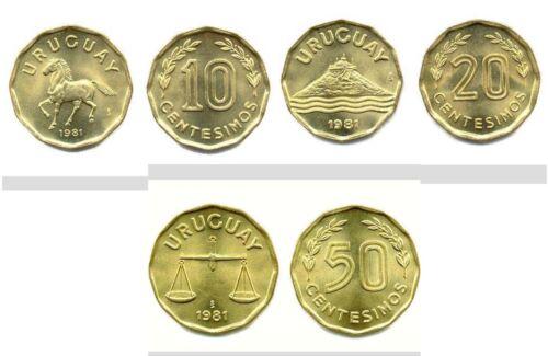 Uruguay 1981 10 /& 20 /& 50 Centesimos 3 Uncirculated Coin Set