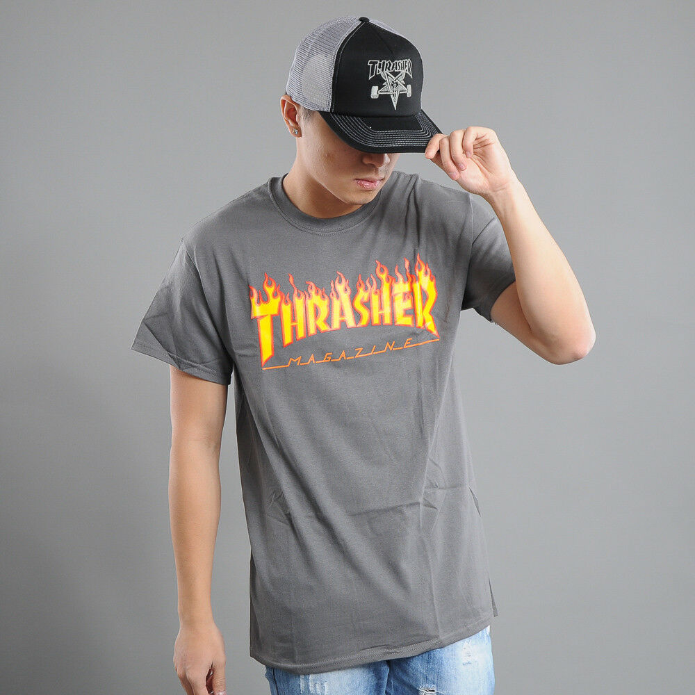 Thrasher Flame Logo Logo Logo dunkelgrau S, Grau   Eleganter Stil    Modern Und Elegant  74c2bb