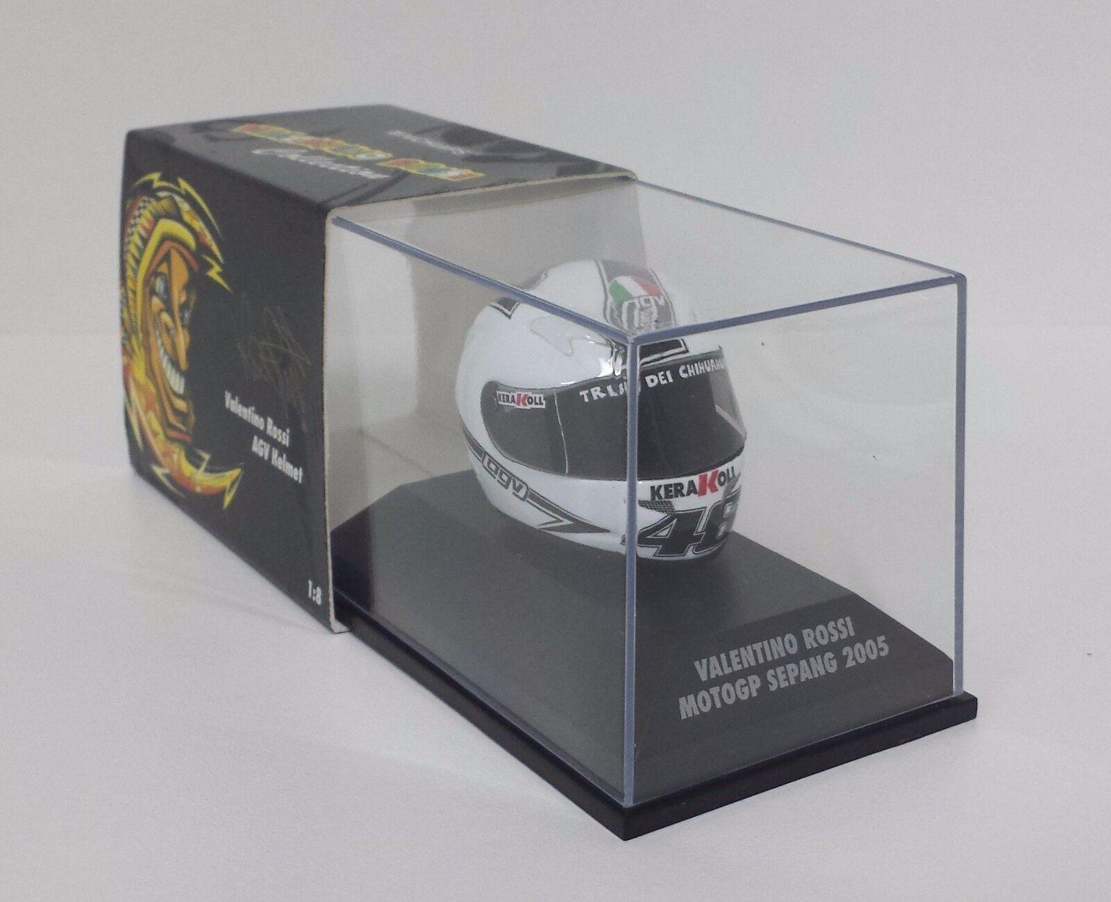 MINICHAMPS VALENTINO ROSSI AGV CASCO HELMET 1 8 WORLD CHAMPION GP SEPANG 2005