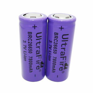2X-26650-Li-ion-Battery-7800mAh-3-7V-Rechargeable-Batteries-for-Flashlight-Torch