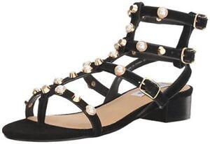 249b71b62e8 Steve Madden Women s Crowne Gladiator Sandal Pearls Black Size 6 ...