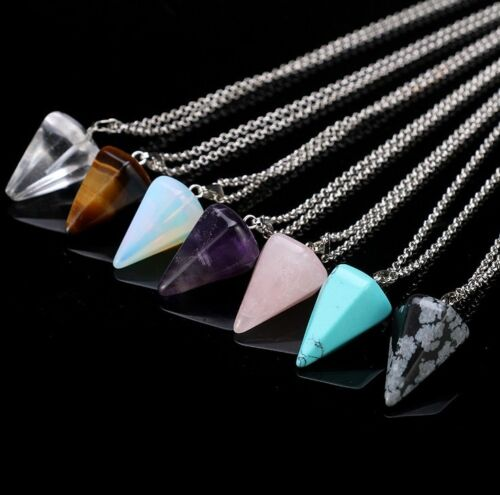 Natural Gemstone Crystal Healing Chakra Reiki Silver Stone Pendant Necklace Mix