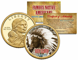 RED-CLOUD-Famous-Native-Americans-Sacagawea-Dollar-US-1-Coin-LAKOTA-Indians