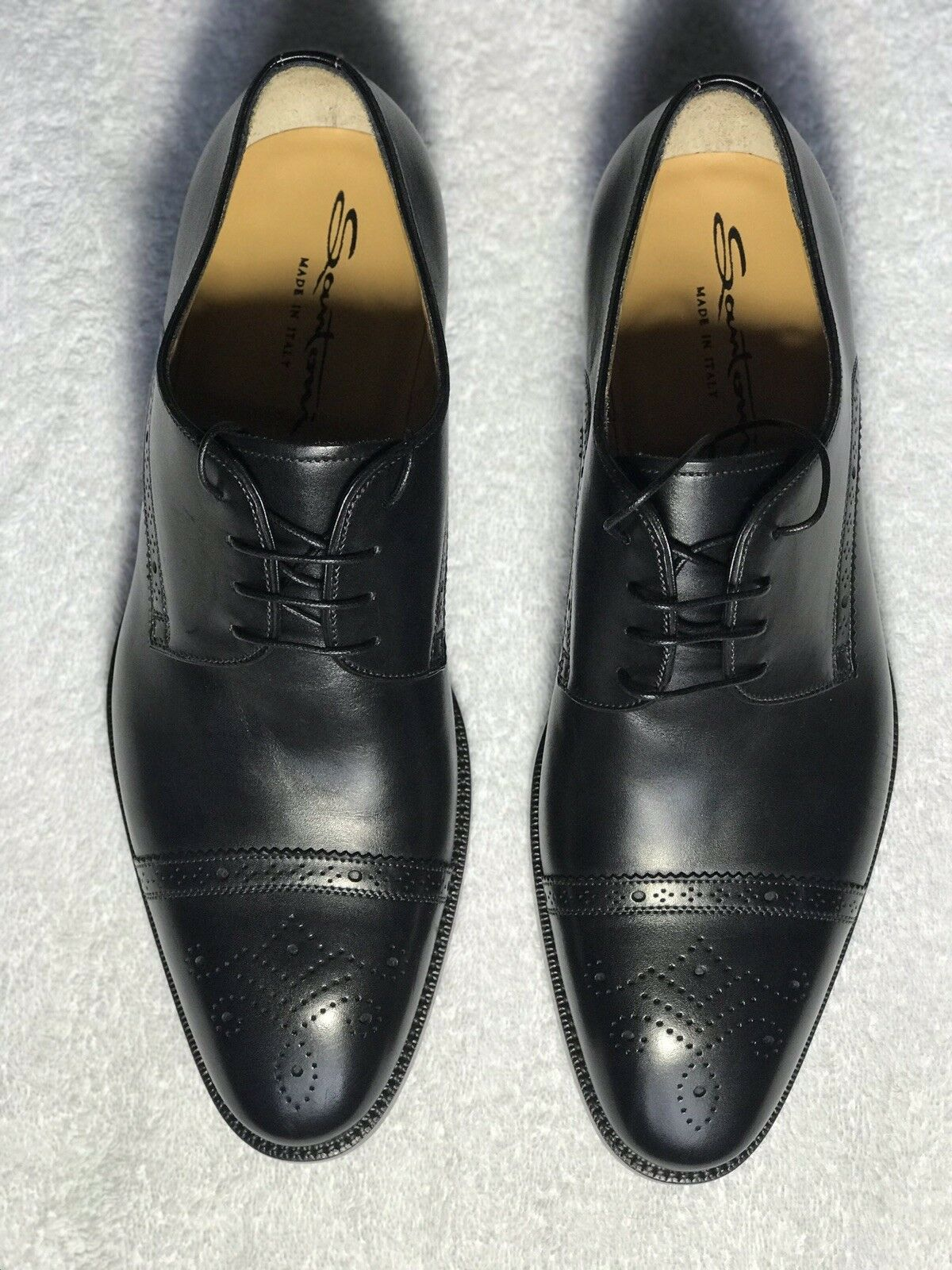 Santoni nero Dress scarpe Cap Toe Oxfords Soft Italian Leather Dimensione 7.5
