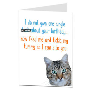Funny Happy Birthday Card From Cat Theme Joke Rude Humour For Owner