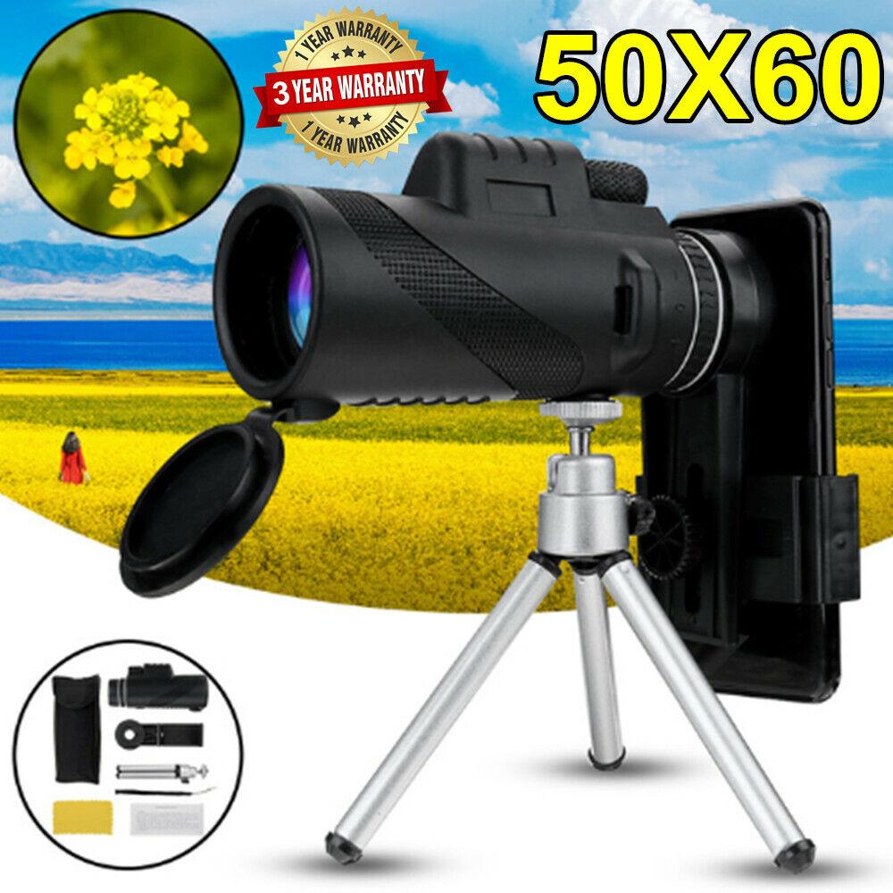 Télescope Monoculaire 50 x 60 Zoom HD Jumelle Vision Nocturne Téléphone+Trépied 2