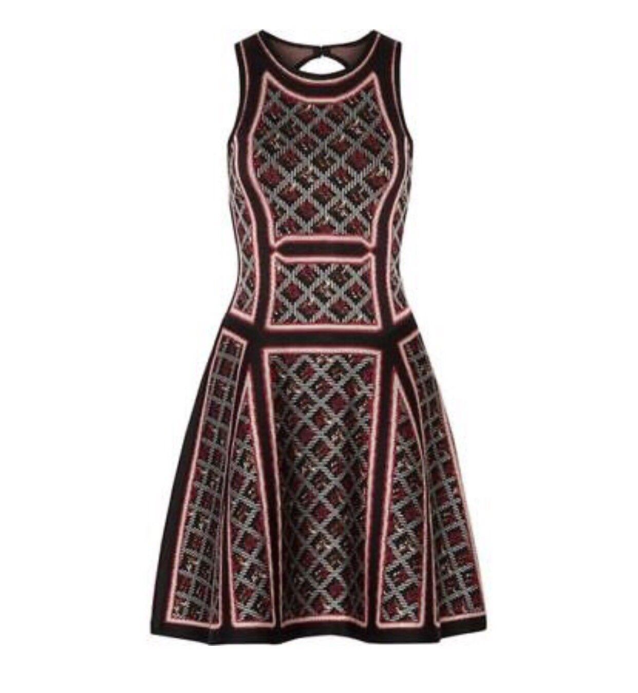 Herve Leger Kacey Garnet Combo Geometric Tweed Jacquard Dress XS  1890