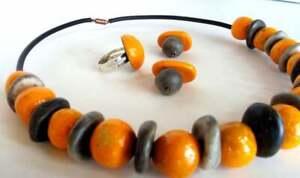 Parure collier boucles oreilles bague ceramique raku galets necklace raku pearls