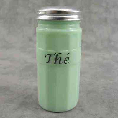"JADEITE GREEN GLASS FRENCH ""THE"" TEA CANISTER w/ Metal Lid ~ COLUMN DESIGN ~"