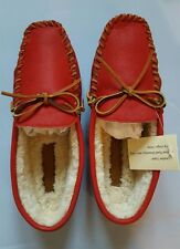 RALPH LAUREN MEN'S IAN RED NATURAL DEERSKIN WOOL SHEARLING SLIPPER SIZE 8.5D