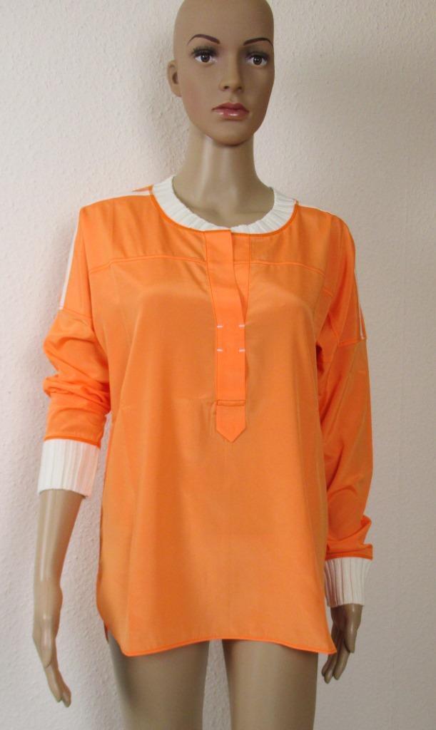 Narli SeidenBlause in Orange, Strickbund an den Ärmeln und am Ausschnitt,Größe M