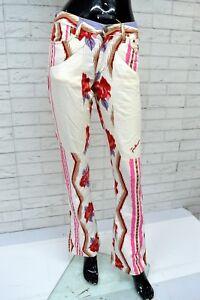 Pantalone-a-Zampa-JECKERSON-Taglia-Size-40-Jeans-Vintage-Floreale-Pants-Woman