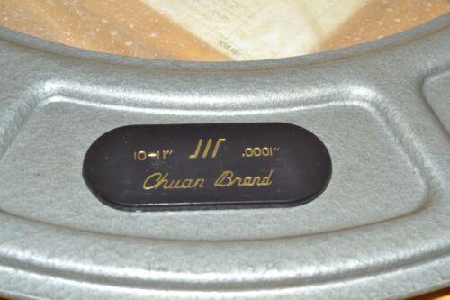 NEW Chuan Brand 10-11/'/' Outside Micrometer 0.0001/'/' Wood Box