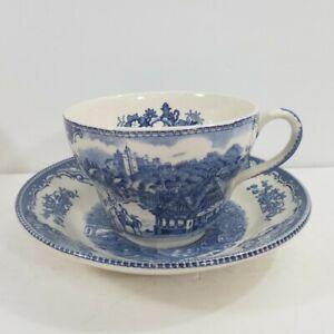 Johnson Brothers Joke Cup & Saucer Blue Set English Ironstone Transferware VHTF
