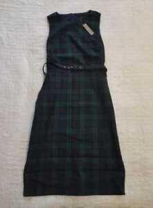 05a153ffa3f NEW WOMEN S 2 10T J CREW BELTED SHEATH DRESS IN BLACK WATCH TARTAN ...
