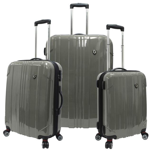 Traveler's Choice Gray 3pc Sedona Polycarbonate Hardside Spinner Luggage Bag Set