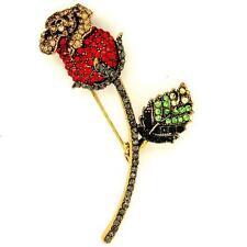 Sparkling Diamante Rhinestone Red Rose Brooch Pin NEW
