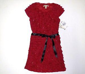 Girls red eyelash christmas holiday dress party wedding size 7 new