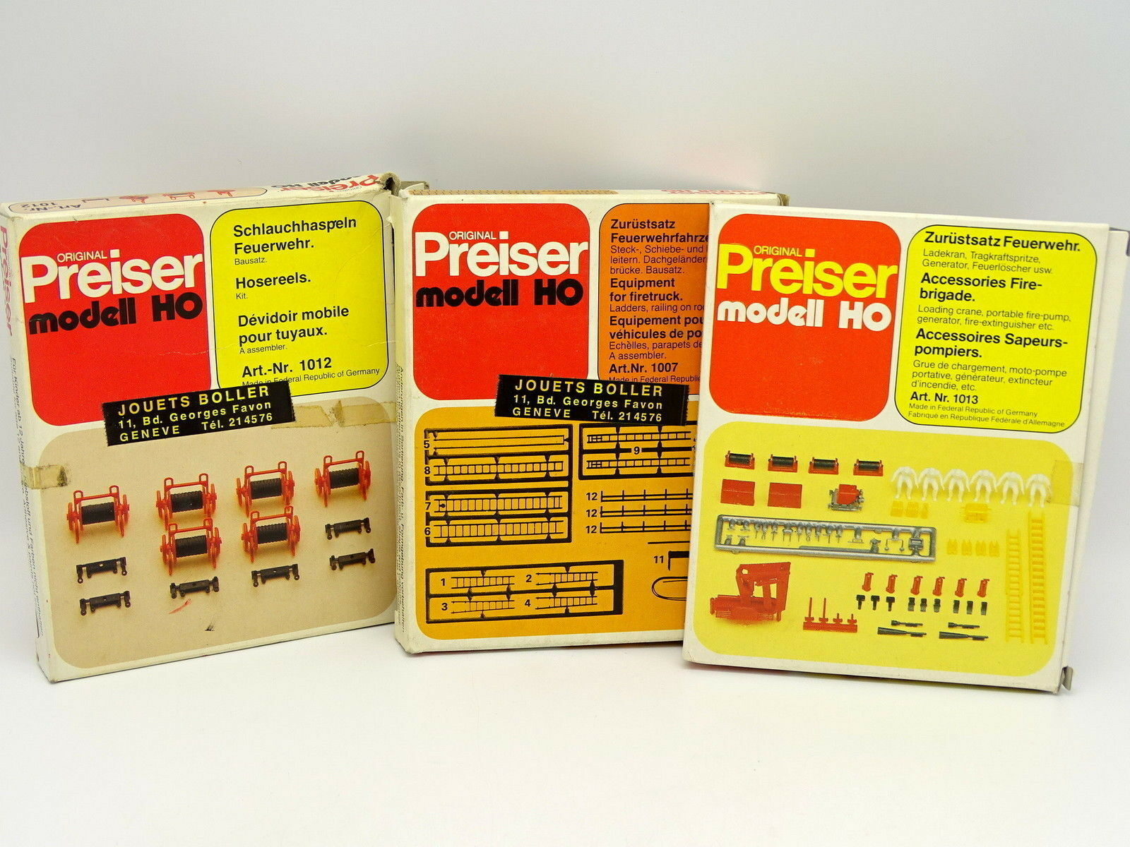 Preiser Kit to assemble 1 87 HO Set of 3 Boxes Accessories Firefighters