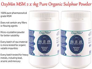 Details about 2 x 1kg OXYMIN MSM ( 2Kg Biological / Pure Organic Sulphur  Powder )