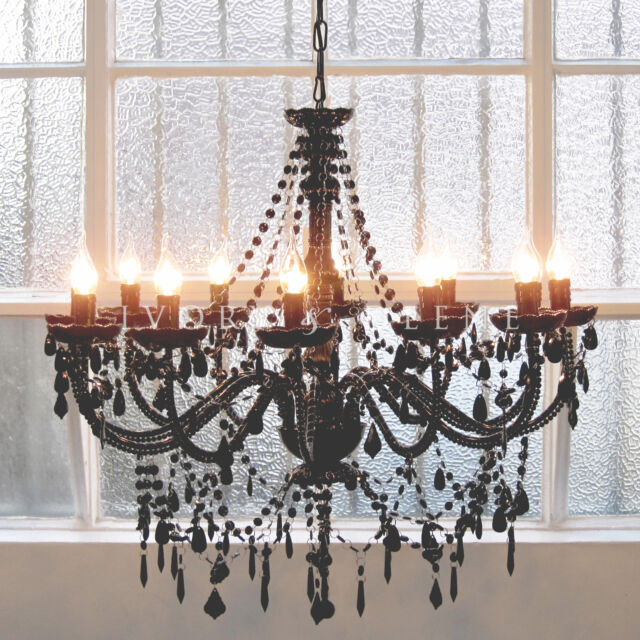 LARGE FRENCH PROVINCIAL CHANDELIER SHABBY LIGHT 12 ARM BLACK BEADS GLASS POST