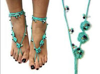 Turquoise Crochet Bohemian Style One Pair Barefoot Sandals