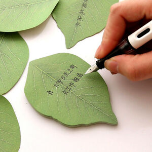 Green-Leaf-Note-Paper-Creative-Notebook-Marker-Sticker-Memo-Pad-Sticky-Notes