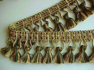 "4 PIECE SPECIAL on FIVE YARDS of 2 1/2"" Green/Yellow Gold Tassel Fringe Trim"