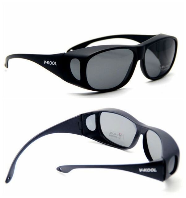 6e85b28cae93e Polarized lens wraparound Sunglasses Clip wear fit over on eyeglass glasses  p01