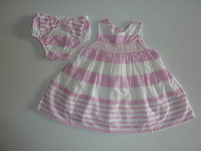 NEXT Gorgeous Pink Striped Lined Dress and Matching Panties NWT