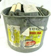 Vintage Deluxe Galvanized Metal Mop Bucket With Wood Rollers Made In Usa
