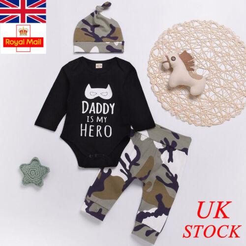 UK Baby Boys Camo 3PCs Outfits Set Shirt Pants Toddler Infant Newborn Clothes