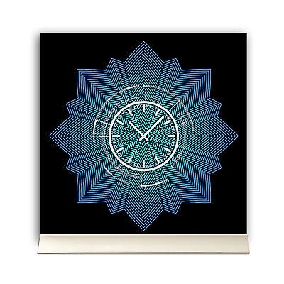 Tischuhr 30cmx30cm Inkl. Alu-ständer -abstraktes Design Stern Blau Schwarz Gerä Eine VollstäNdige Palette Von Spezifikationen