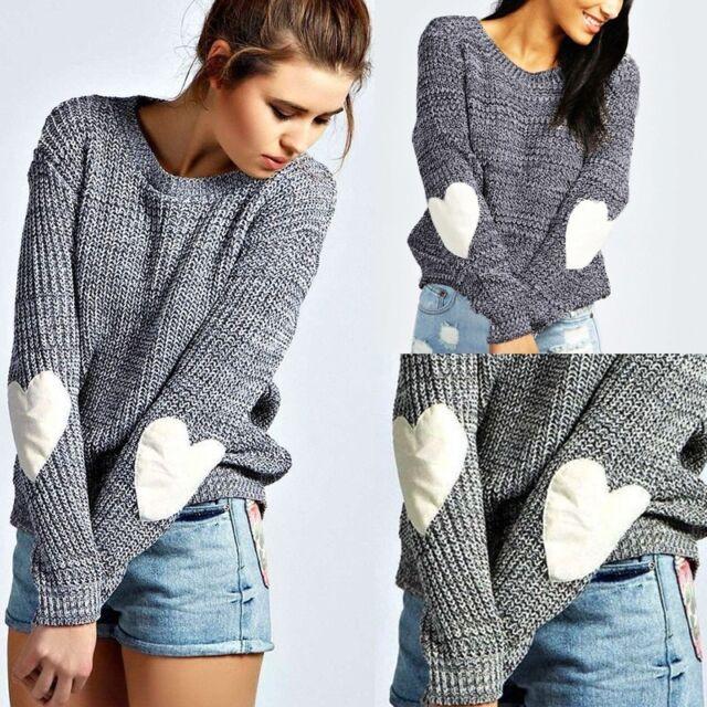 New Autumn Winter Women Heart Pullover Long Sleeve Casual Sweater Knitted Jumper