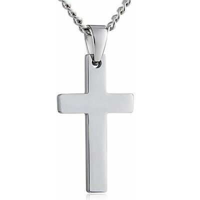 Men Silver Cross Pendant Necklace Top Quality Stainless Steel Byzantine Necklace