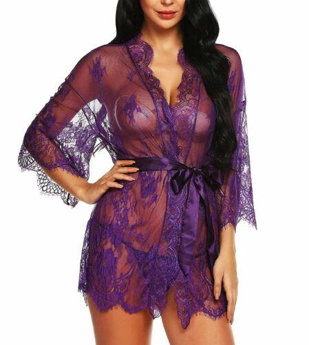 Vsecrety Women Purple Lace Kimono Robe Lingerie Eyelash Babydoll Sheer Nightwear