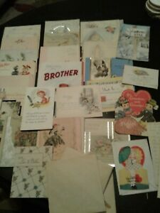 Large-Lot-Greeting-Cards-Most-Unused-Hallmark-Buzza-etc-VTG-early-1930s