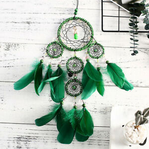 Dreamcatcher-5-Rings-Green-Feather-Pendant-Home-Decor-Craft-Hanging-S8
