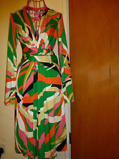 ISSA LONDON GREEN WRAP DRESS IN MOJITO PRINT UK10 US6 DRESS NEW WITH TAG £525