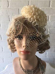 Vintage 1940 s 50 s Champaign Plastic Hat Ribbon RUFFLES   Netting ... 5a8e733c06c