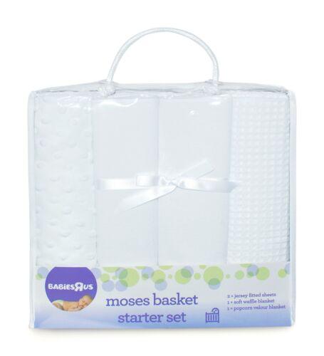 Blanc BABIESRUS Moses//Landau 4pc Starter Set couvertures /& Jersey Drap