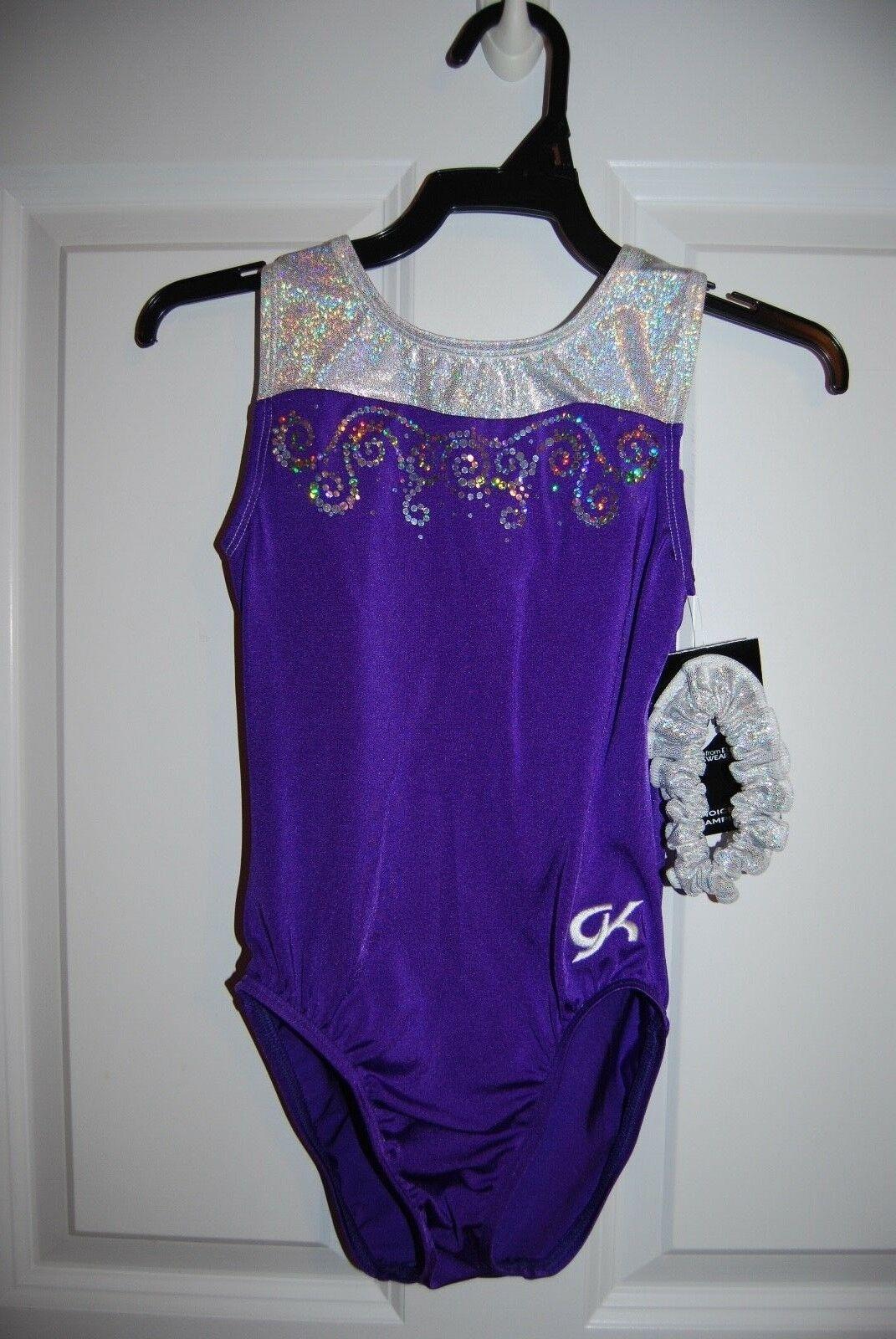 GK Elite Gymnastics Leotard - Adult X-Small - White Sparkle Hologram Purple