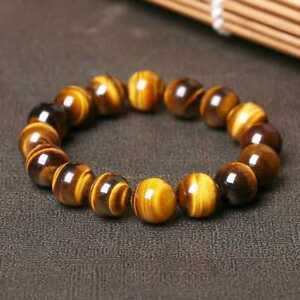 8MM 10MM Natural Tiger Eye Stone Gemstone Beads Men Jewelry Bracelet Bangle