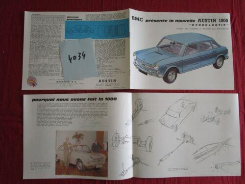 catalogue BMC berline Austin 1800 Hydrolastic   Francais N°4034